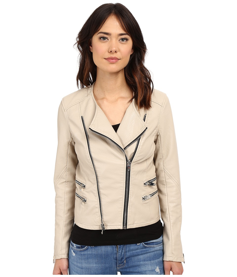 Blank NYC - Vegan Leather Moto Crop Jacket (Taupe) Women's Jacket
