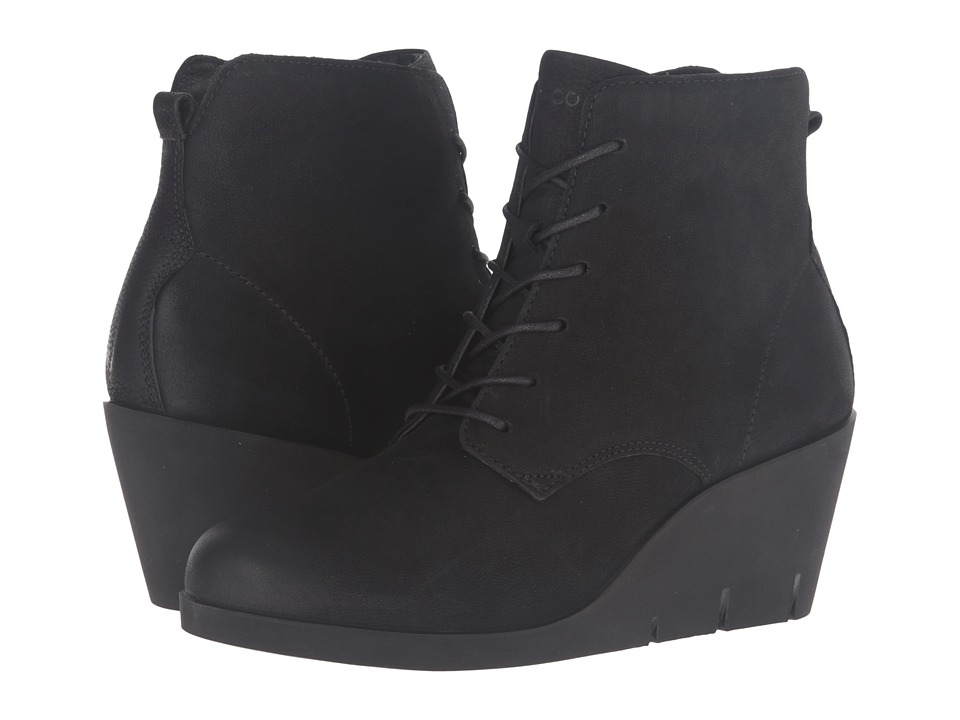 ECCO - Bella Wedge Tie (Black Cow Nubuck) Women's Boots