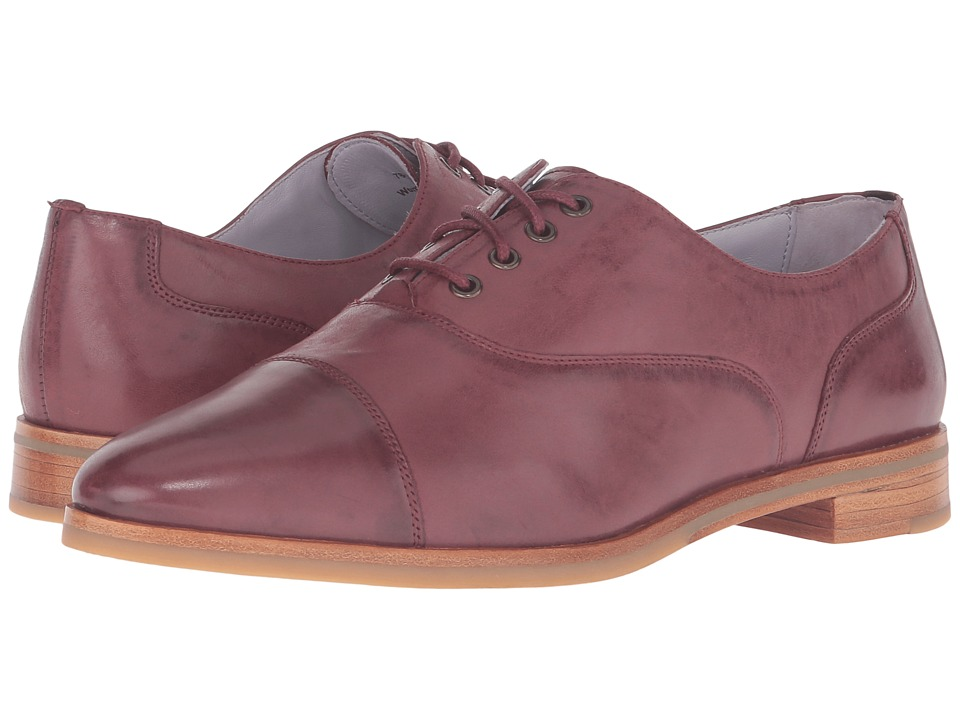 Johnston & Murphy - Charlene Oxford (Wine Italian Waxy Leather) Women's Lace Up Wing Tip Shoes