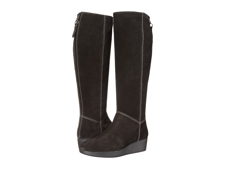 Johnston & Murphy - Darcy Tall Boot (Black Italian Waterproof Suede) Women's Pull-on Boots