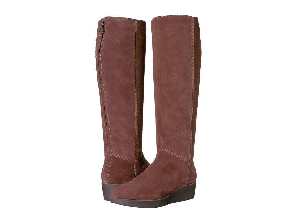 Johnston & Murphy - Darcy Tall Boot (Brown Italian Waterproof Suede) Women's Pull-on Boots