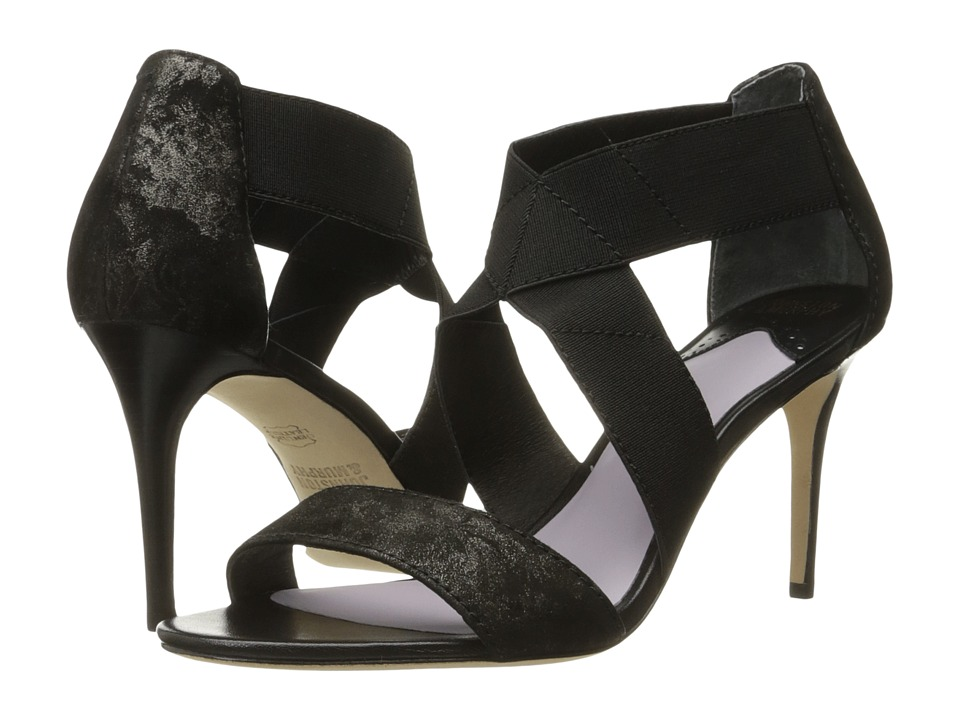 Johnston & Murphy - Felicity Cross Strap (Black Metallic Printed Suede/Black Elastic) High Heels