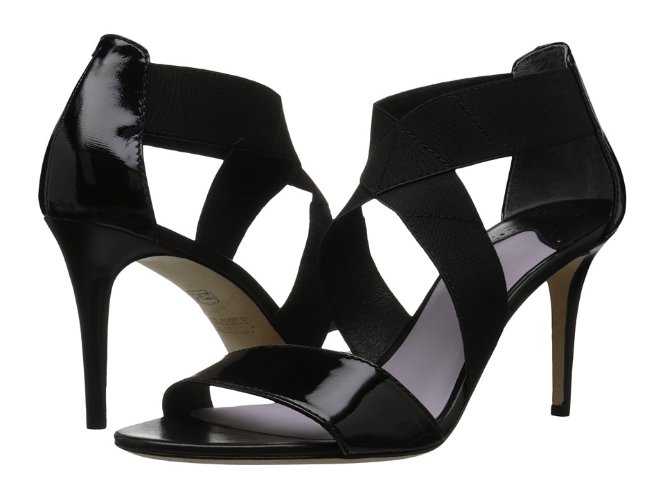 Johnston & Murphy - Felicity Cross Strap (Black Textured Patent Leather/Black Elastic) High Heels