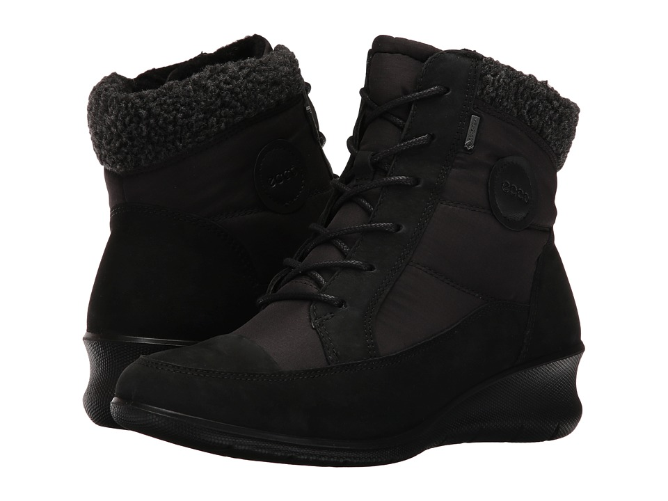 ECCO Babett Wedge Lace Boot (Black Cow Nubuck) Women