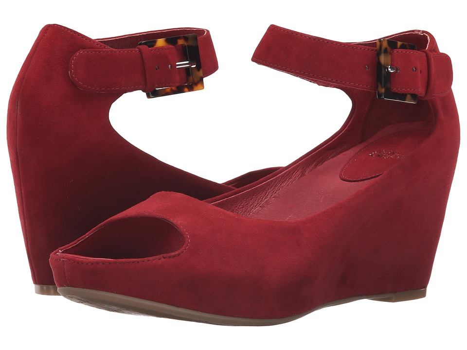 Johnston & Murphy - Tricia Ankle Strap (Dark Red Kid Suede) Women's Wedge Shoes