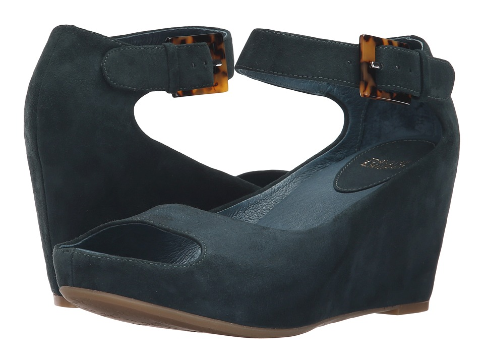 Johnston & Murphy - Tricia Ankle Strap (Teal Kid Suede) Women's Wedge Shoes