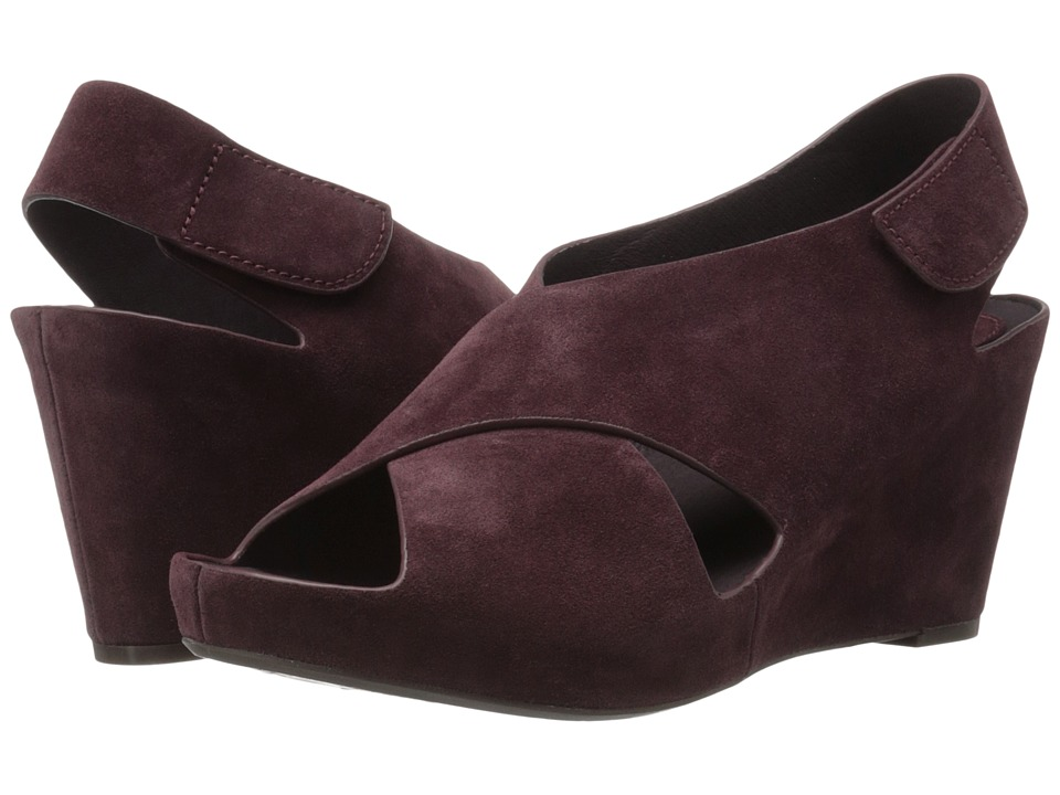 Johnston & Murphy - Tori Cross Band Wedge (Wine Italian Suede) Women's Wedge Shoes