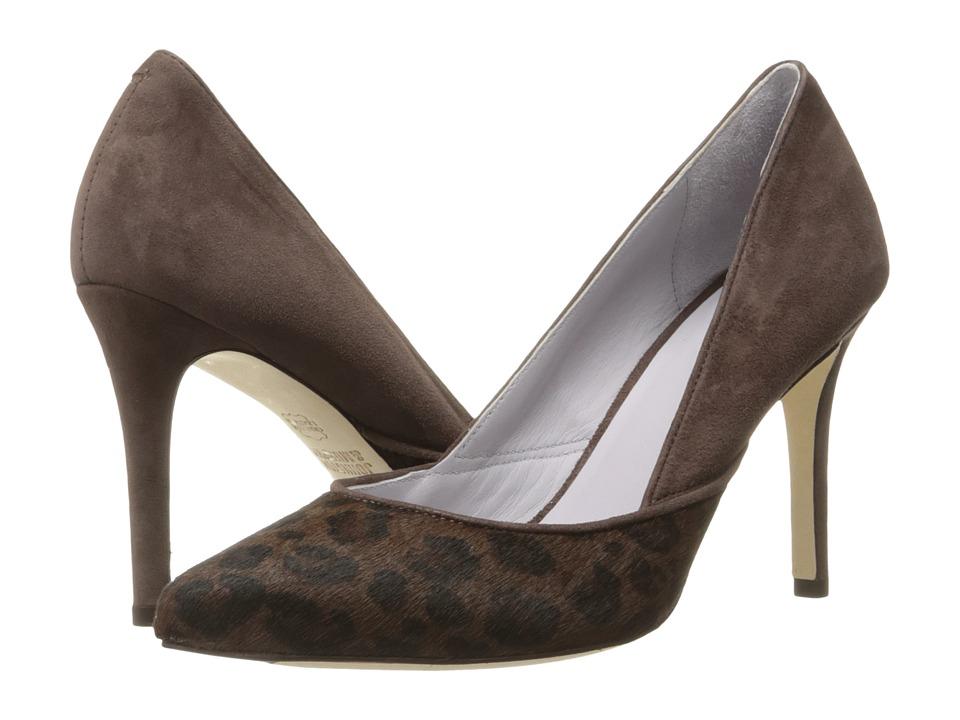 Johnston & Murphy - Vanessa Pump (Dark Brown Jaguar Print Haircalf/Dark Brown Kid Suede) High Heels