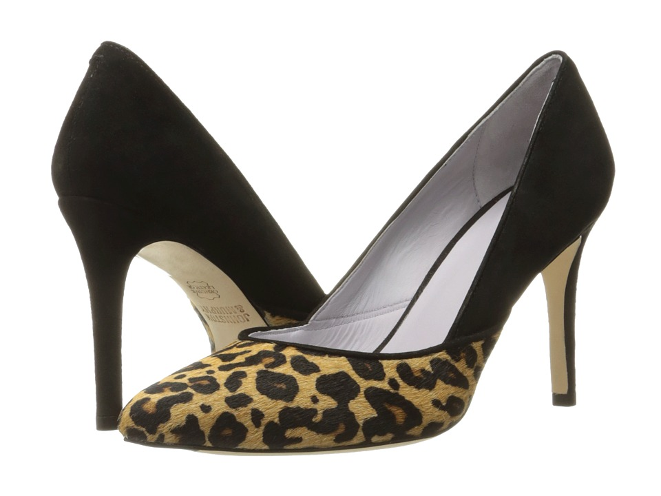 Johnston & Murphy - Vanessa Pump (Natural Jaguar Print Haircalf/Black Kid Suede) High Heels