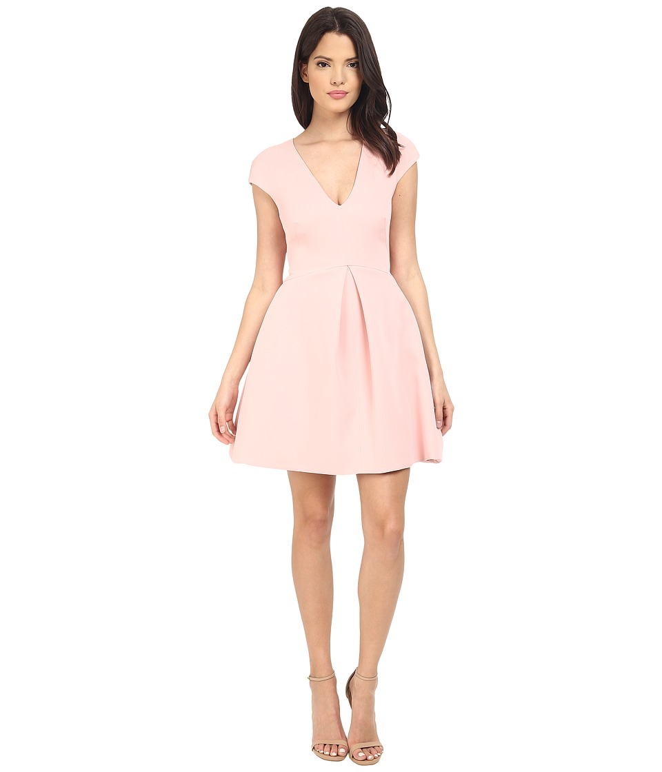 Halston Heritage - Cap Sleeve V-Neck Structure Dress w/ Cut Out Back (Lotus) Women's Dress