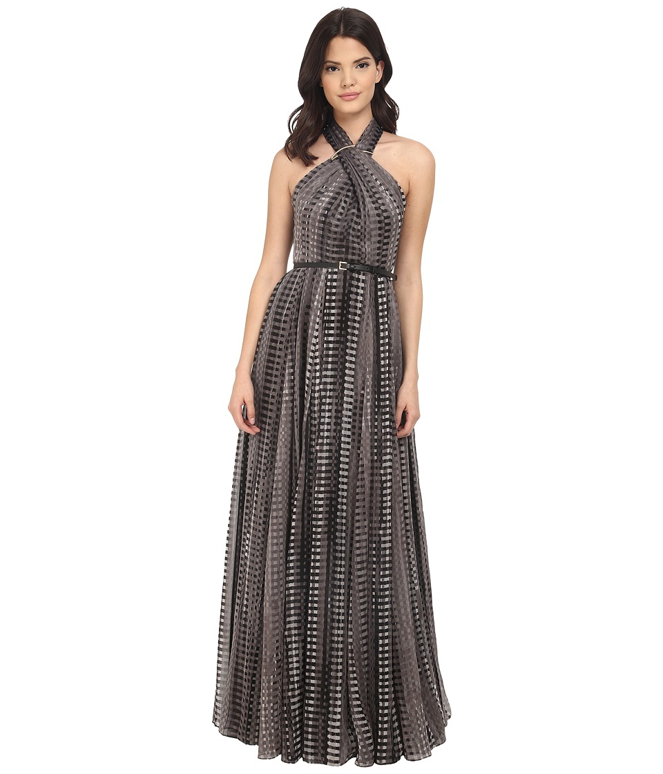 Halston Heritage - Sleeveless Cross Neck Printed Gown w/ Hardware at Neck (Black Fading Pixels Allover Print) Women's Dress