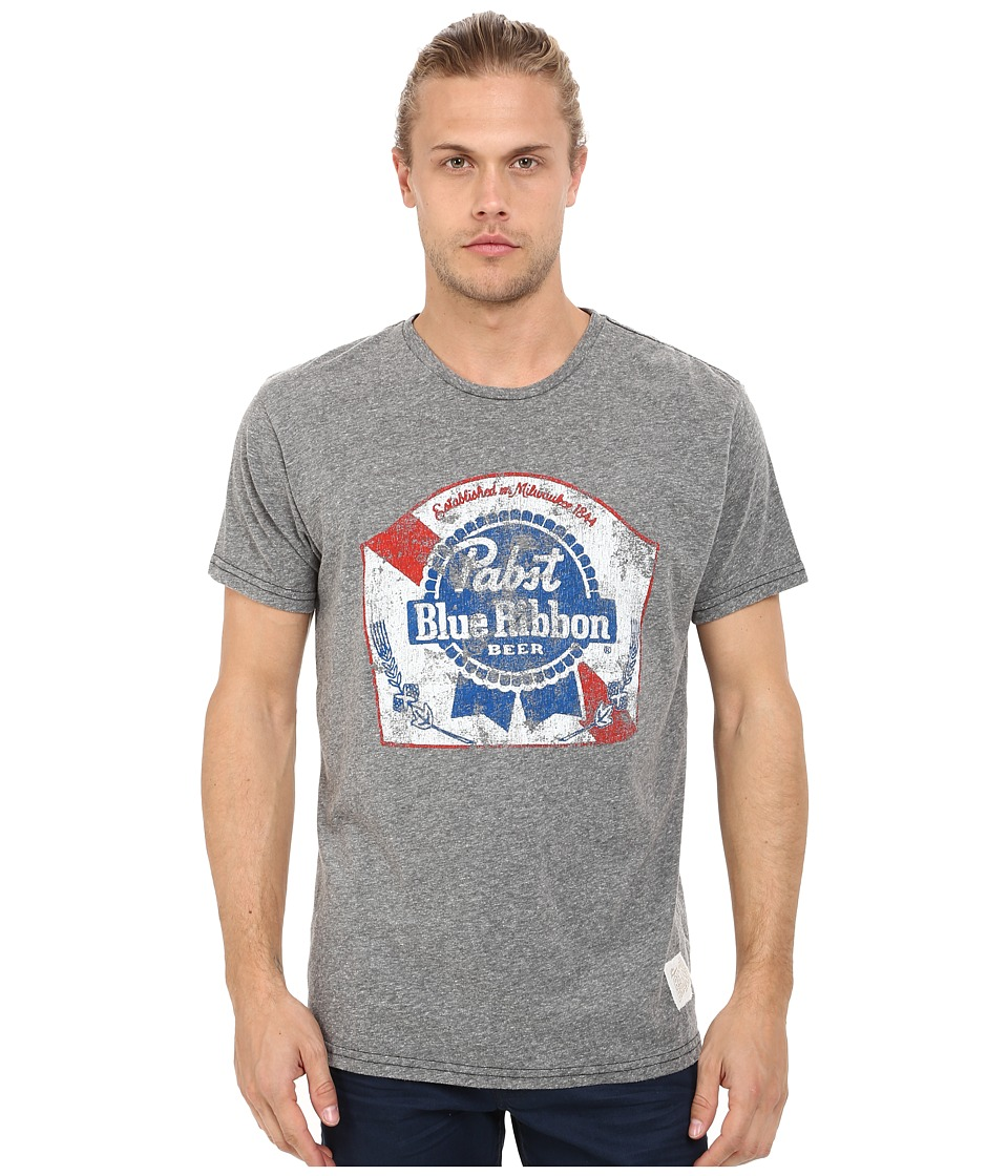 The Original Retro Brand - Textured Tri-Blend Pabst Blue Ribbon Tee (Streaky Grey) Men's T Shirt