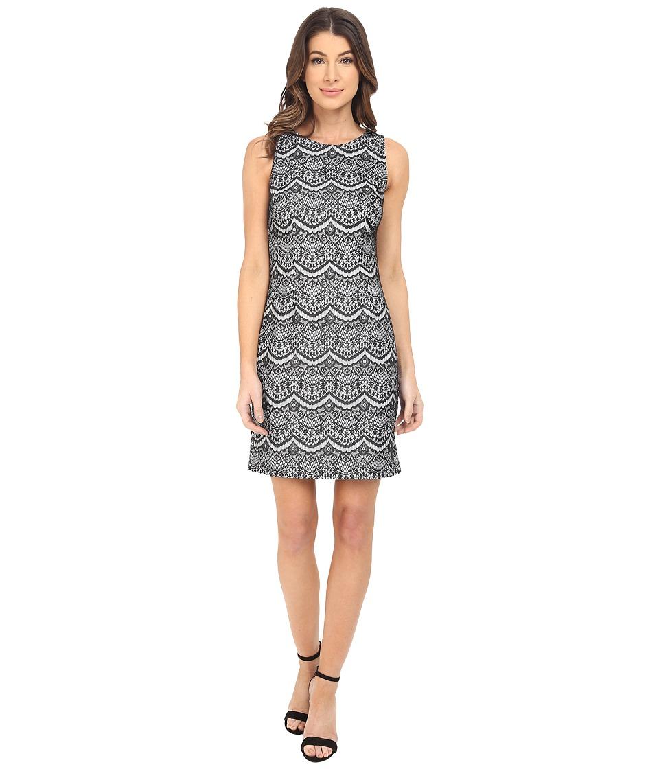 Jessica Simpson Bonded Lace Dress (Black/White) Women