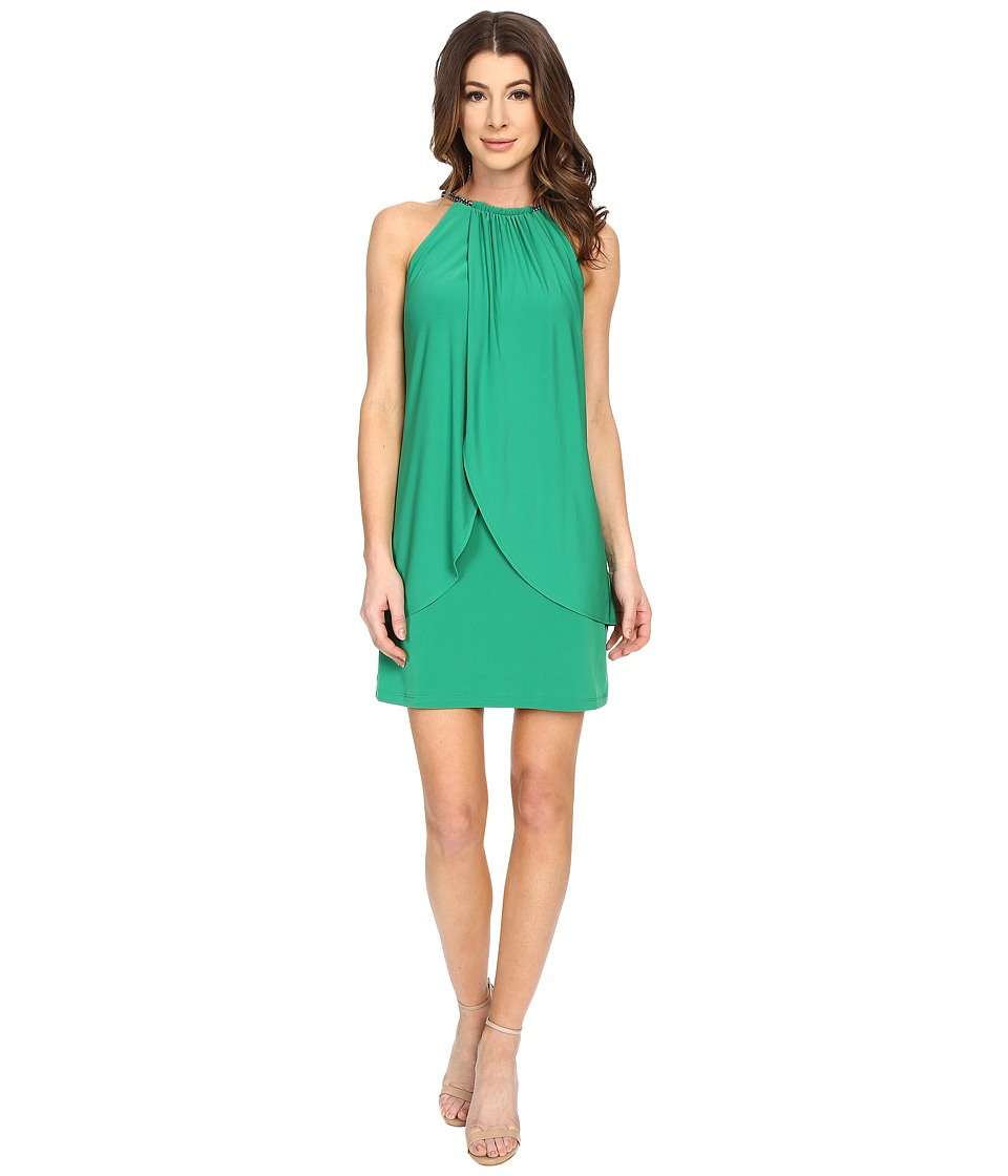 Jessica Simpson Ity Dress with Embellished Halter Necklace (Green) Women