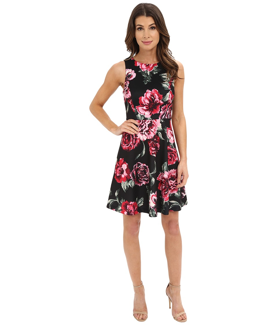 Jessica Simpson - Printed Scuba Fit and Flare Dress (Black Floral) Women's Dress