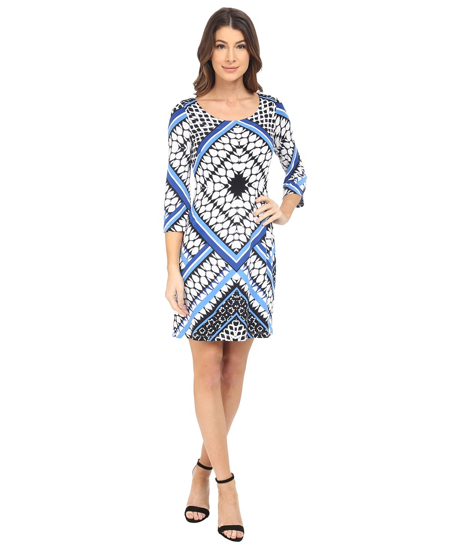 Jessica Simpson - Printed Ity Shift Dress (Blue Print) Women's Dress