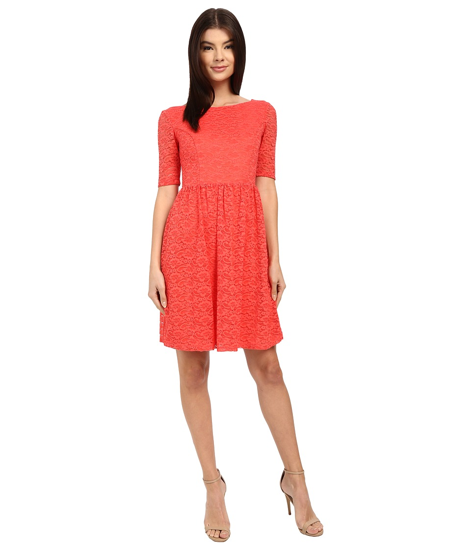 Jessica Simpson - Lace Fit and Flair Dress (Coral) Women's Dress