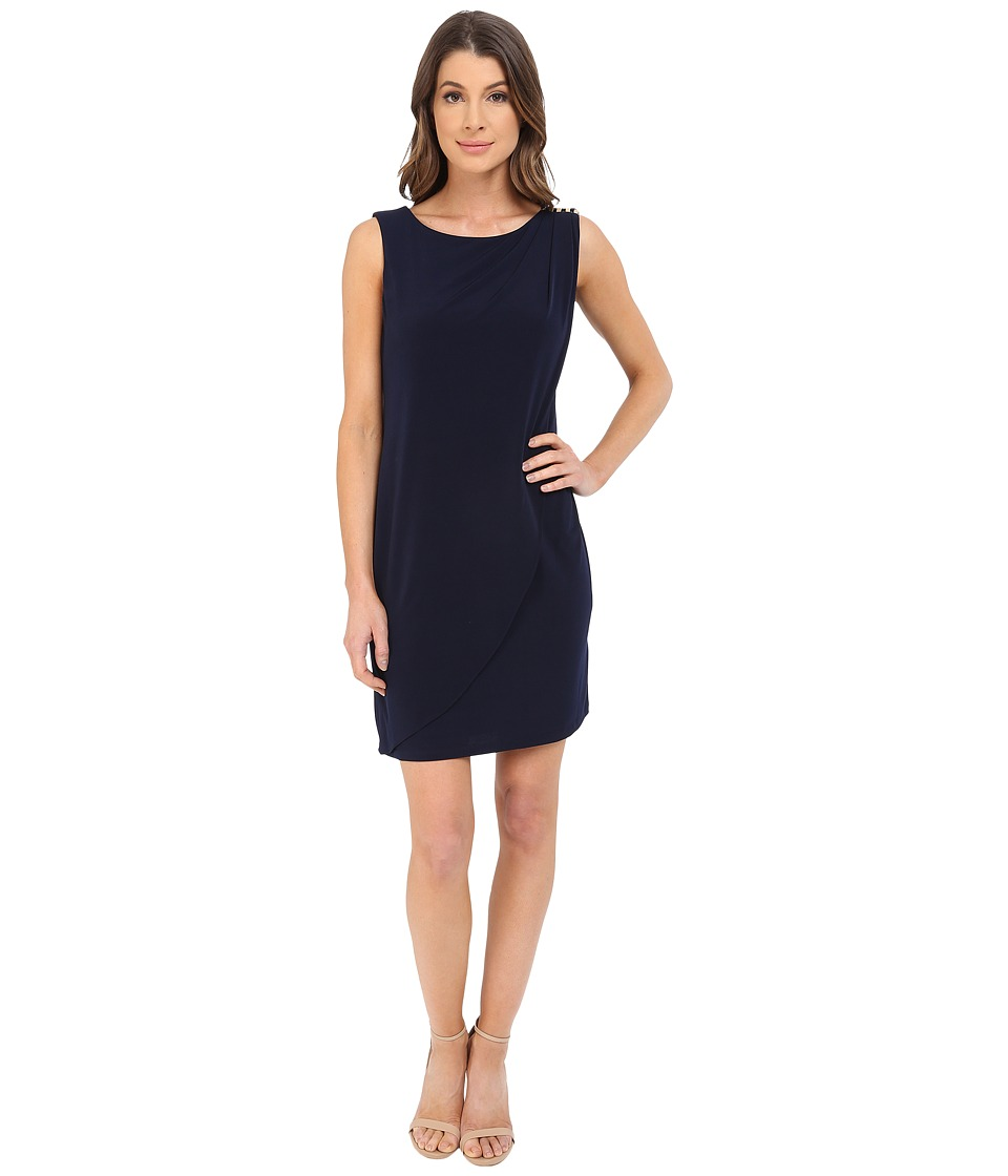 Jessica Simpson - Sleeveless Ity Dress with Front Drape (Navy) Women's Dress