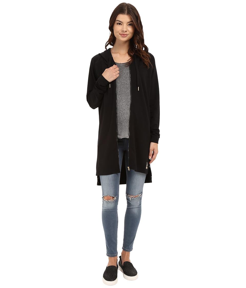 Bench - Living In A Dream Long Zip-Up Hoodie (Jet Black) Women's Sweatshirt