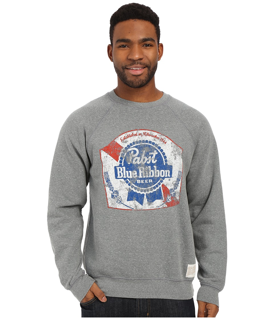 The Original Retro Brand - Fleece Crew Neck Pabst Blue Ribbon Sweatshirt (Grey Fleece) Men's Sweatshirt