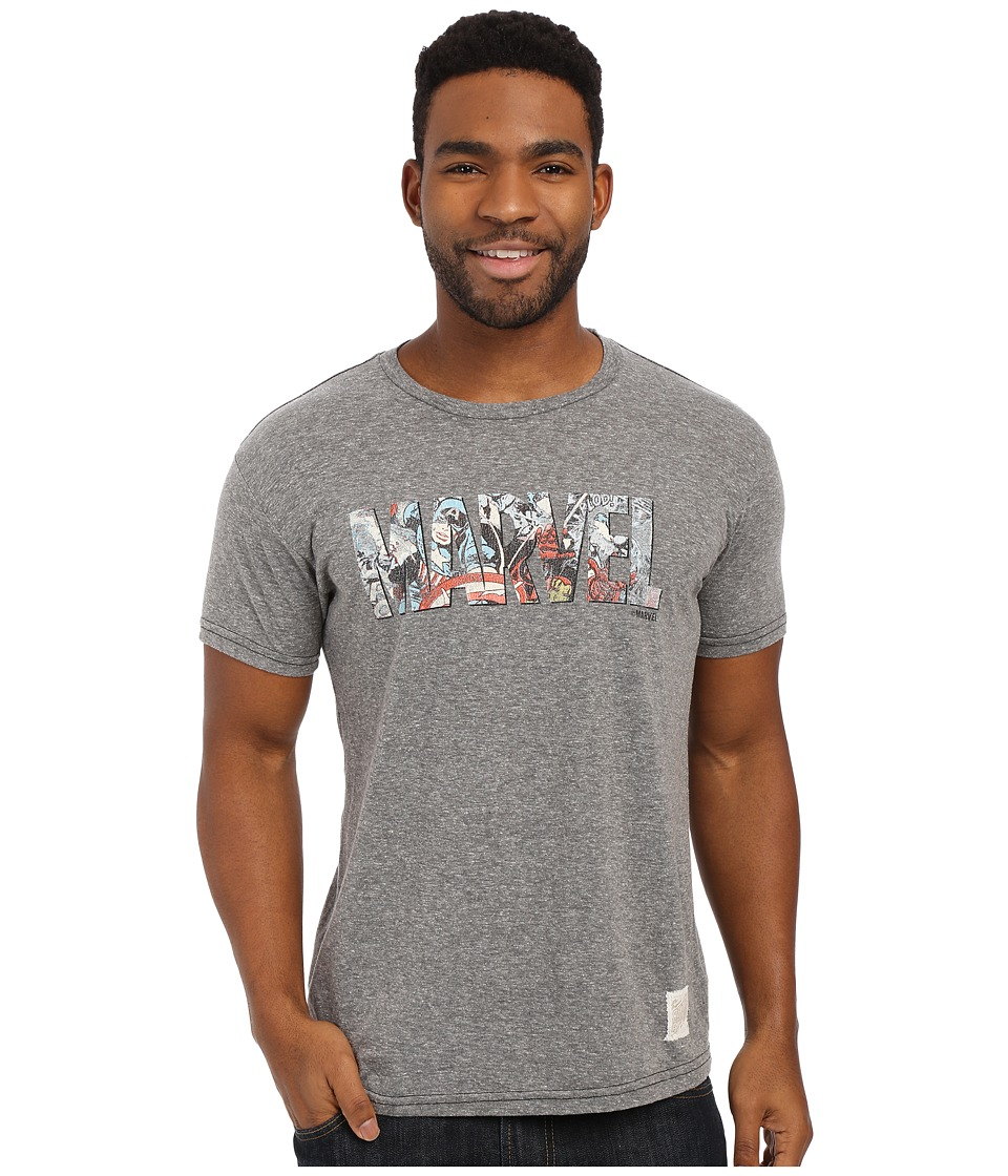 The Original Retro Brand - Textured Tri-Blend Short Sleeve Marvel Tee (Streaky Grey) Men's T Shirt