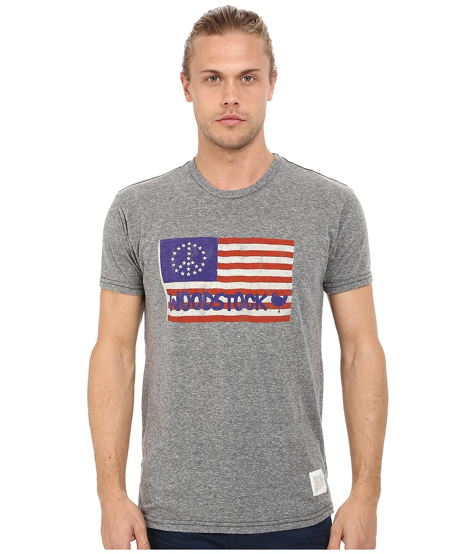 The Original Retro Brand - Short Sleeve Woodstock Flag Tee (Streaky Grey) Men's T Shirt