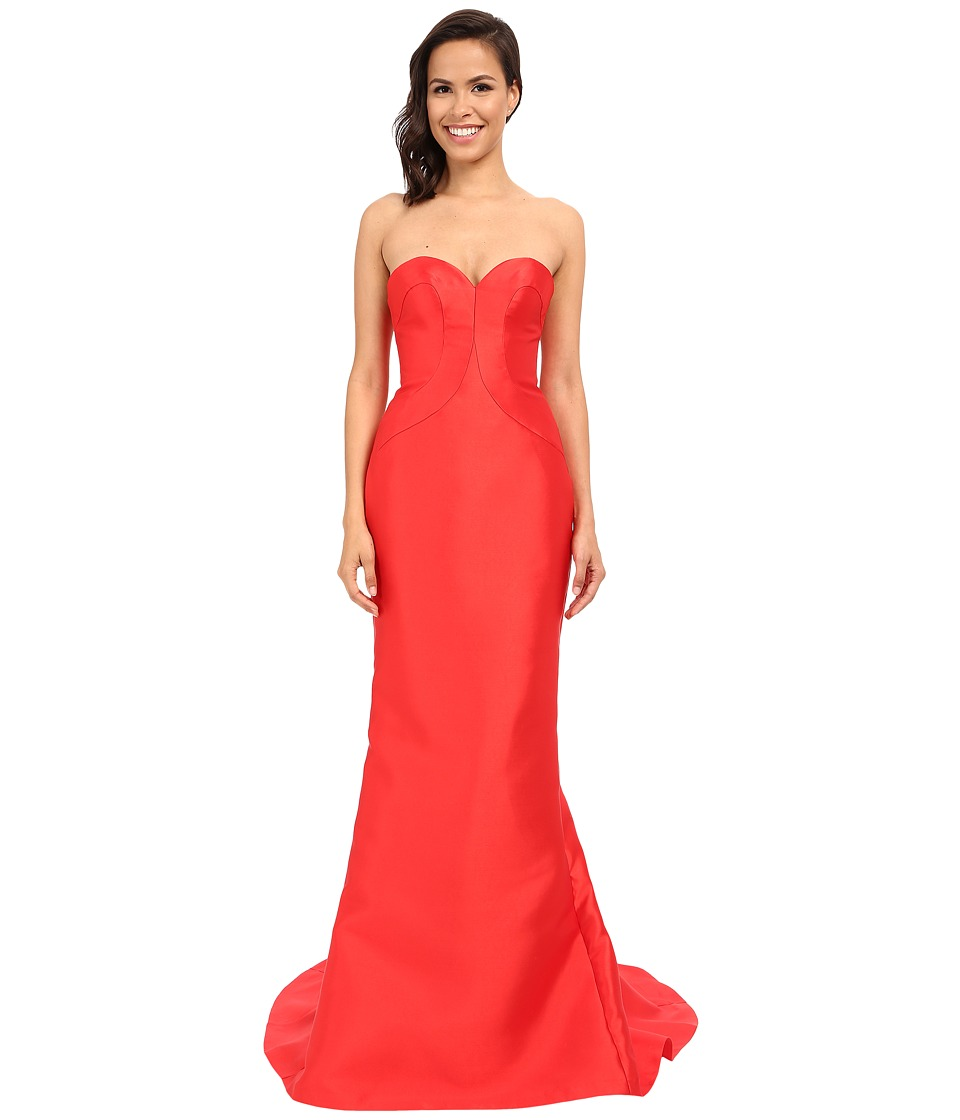 Faviana - Strapless Sweetheart Satin Fit Flare Gown w/ Panel Detailing 7753 (Red) Women's Dress