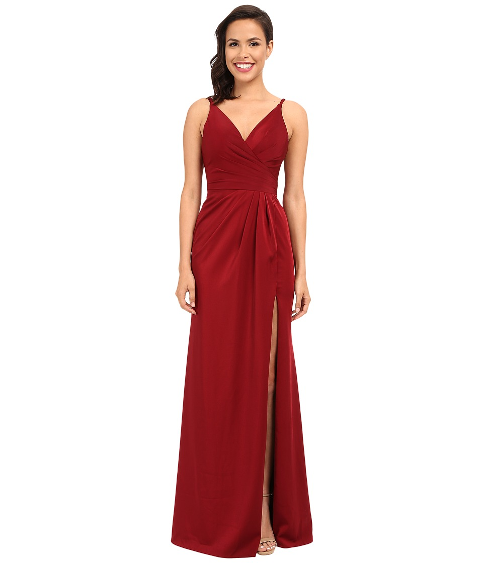 Faviana - Satin Faille V-Neck Gown w/ Lightly Rouched Bodice Delicate Draping On Skirt 7755 (Wine) Women's Dress