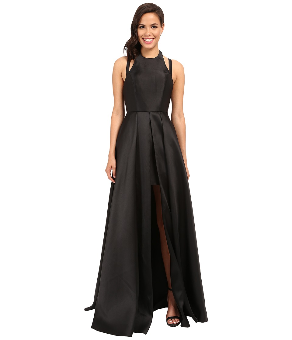 Faviana Frosted Satin Gown with Split Front Overskirt 7752 (Black) Women