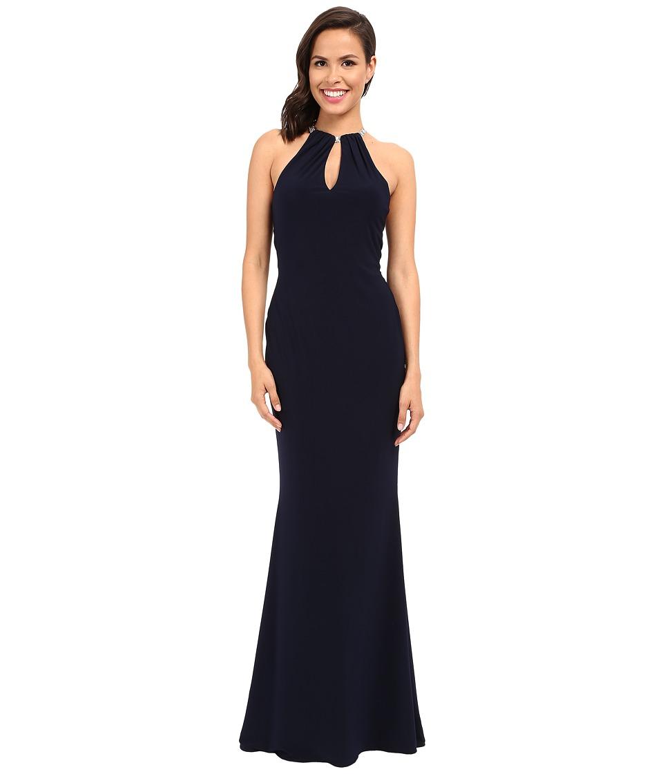 Faviana Jersey Halter Gown w/ Keyhole Detailing Bearded Backstrap 7781 (Navy) Women