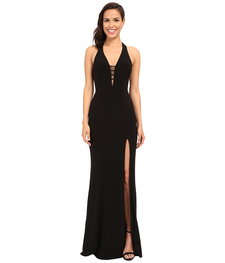 Faviana - V-Neck Chiffon Dress 7540 (Black) Women's Dress