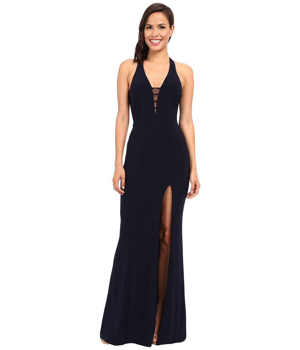 Faviana - V-Neck Chiffon Dress 7540 (Navy) Women's Dress