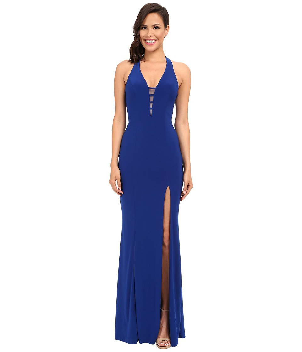 Faviana - V-Neck Chiffon Dress 7540 (Royal) Women's Dress