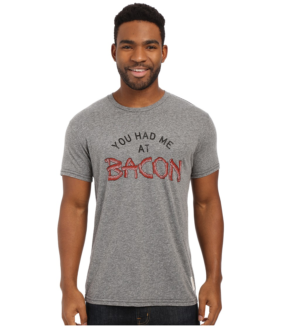 The Original Retro Brand - Tri-Blend Short Sleeve You Had Me At Bacon Tee (Streaky Grey) Men's T Shirt