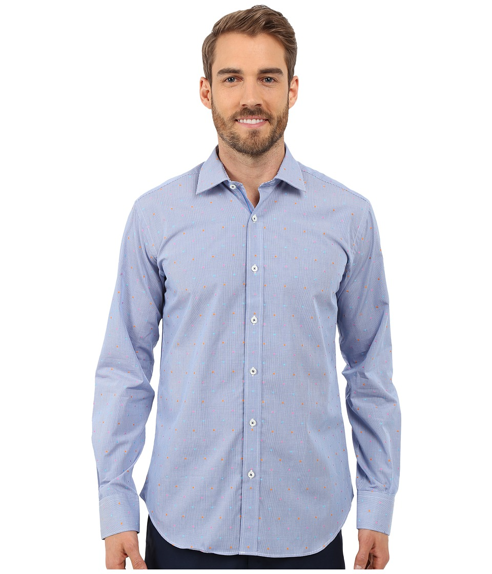 BUGATCHI - Nice Shaped Fit Long Sleeve Woven Shirt (Classic Blue) Men's Long Sleeve Button Up