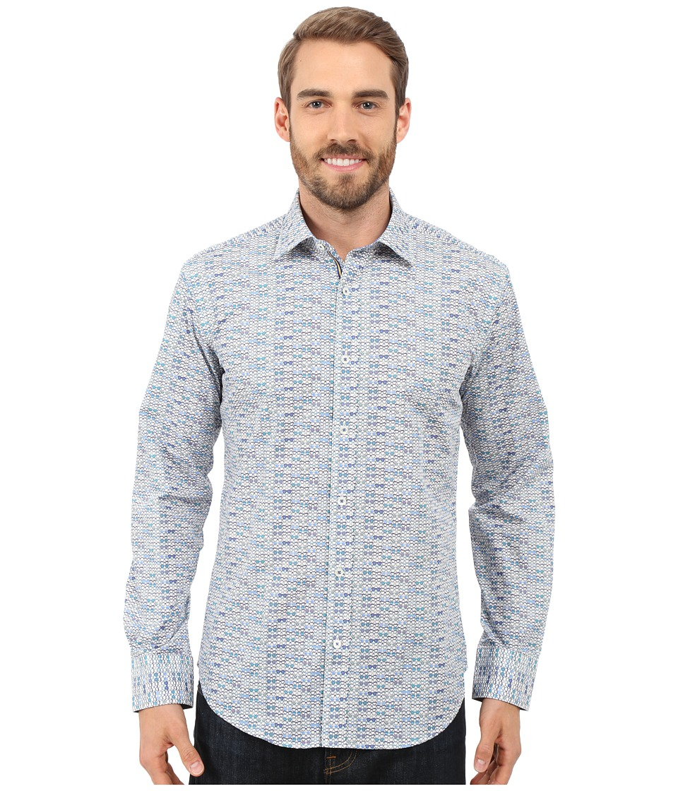 BUGATCHI - Lake Como Shaped Fit Long Sleeve Woven Shirt (Chalk) Men's Long Sleeve Button Up