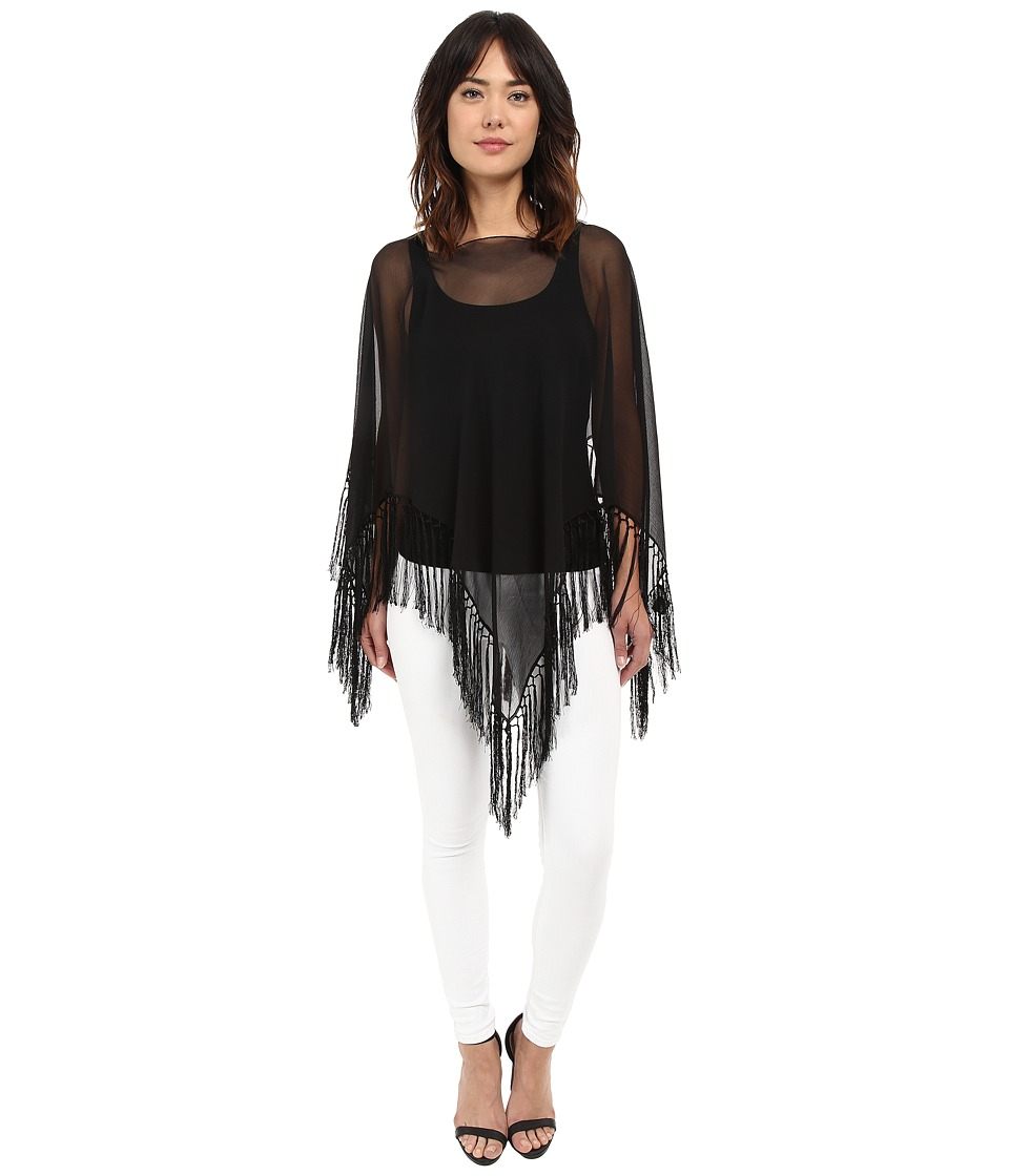 LAUREN Ralph Lauren - Nora Silk Crinkled Chiffon Wrap (Black) Women's Blouse