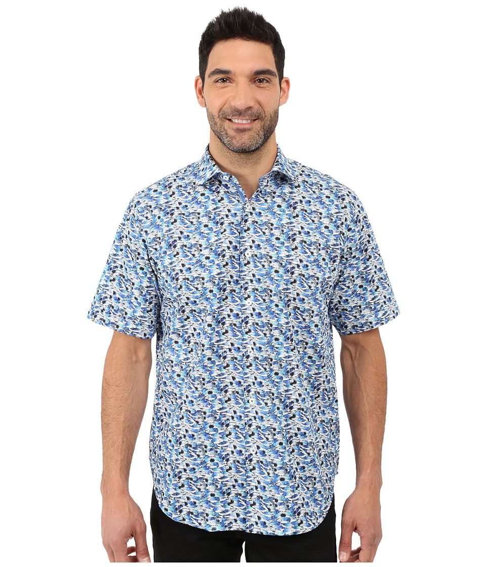 BUGATCHI - Bondi Beach Classic Fit Short Sleeve Woven Shirt (Classic Blue) Men's Short Sleeve Button Up