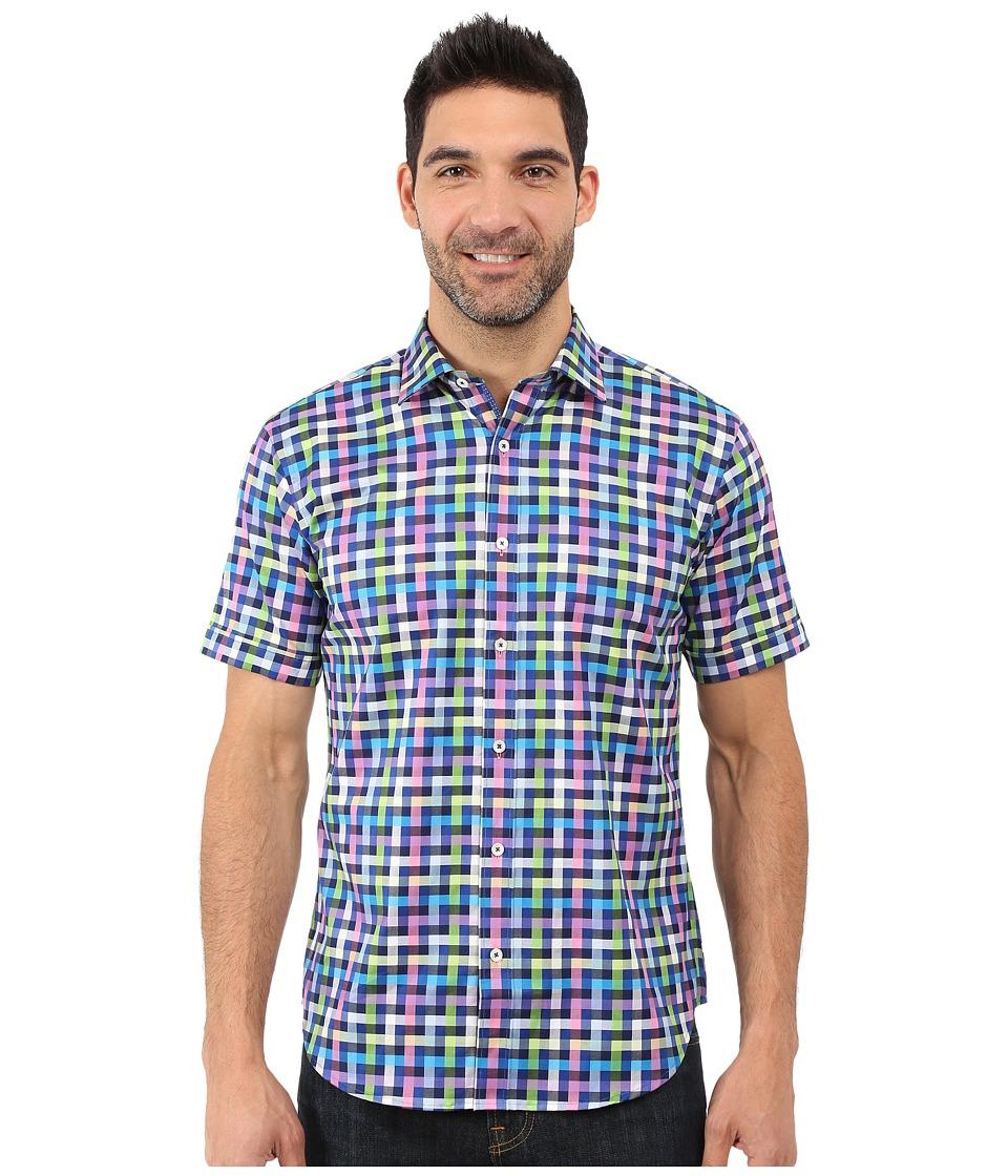 BUGATCHI - Michelangelo Shaped Fit Short Sleeve Woven Shirt (Classic Blue) Men's Short Sleeve Button Up