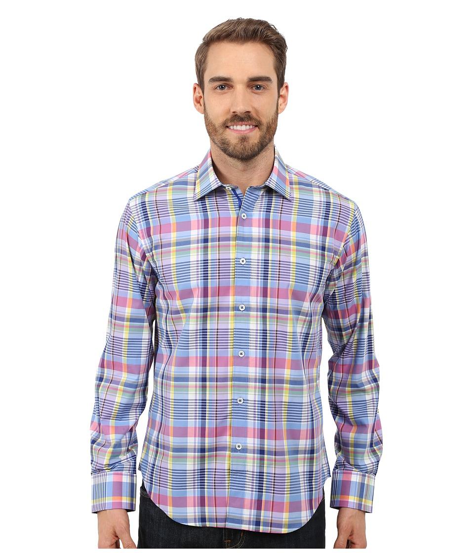 BUGATCHI - Pronto Shaped Long Sleeve Woven Shirt (Navy) Men's Long Sleeve Button Up