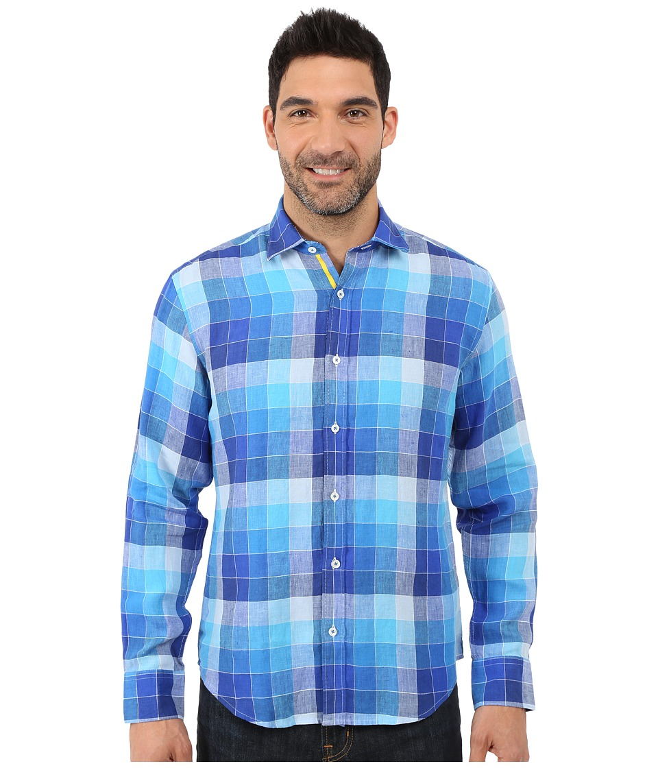 BUGATCHI - Piebmonte Shaped Fit Long Sleeve Woven Shirt (Classic Blue) Men's Long Sleeve Button Up
