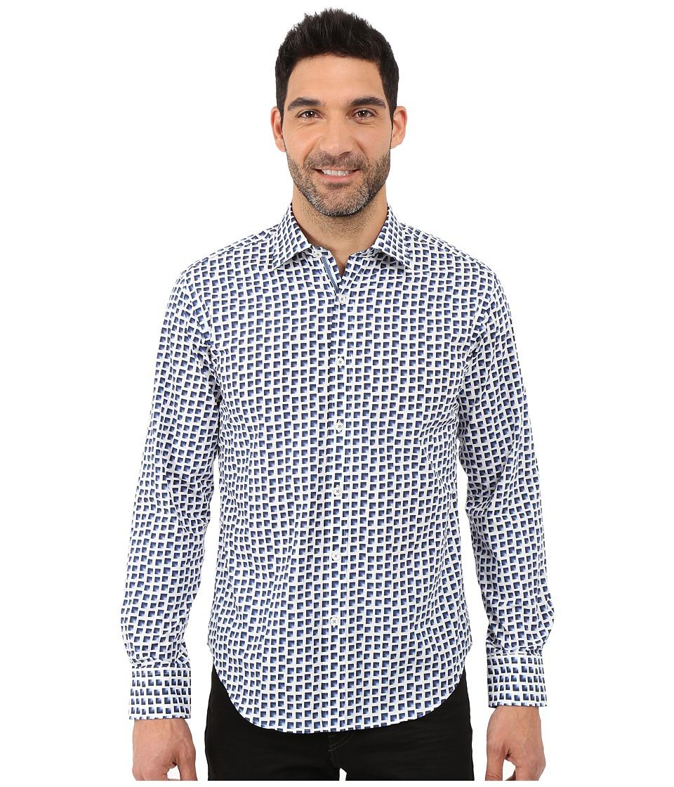 BUGATCHI - Azul Shaped Fit Long Sleeve Woven Shirt (Midnight) Men's Long Sleeve Button Up