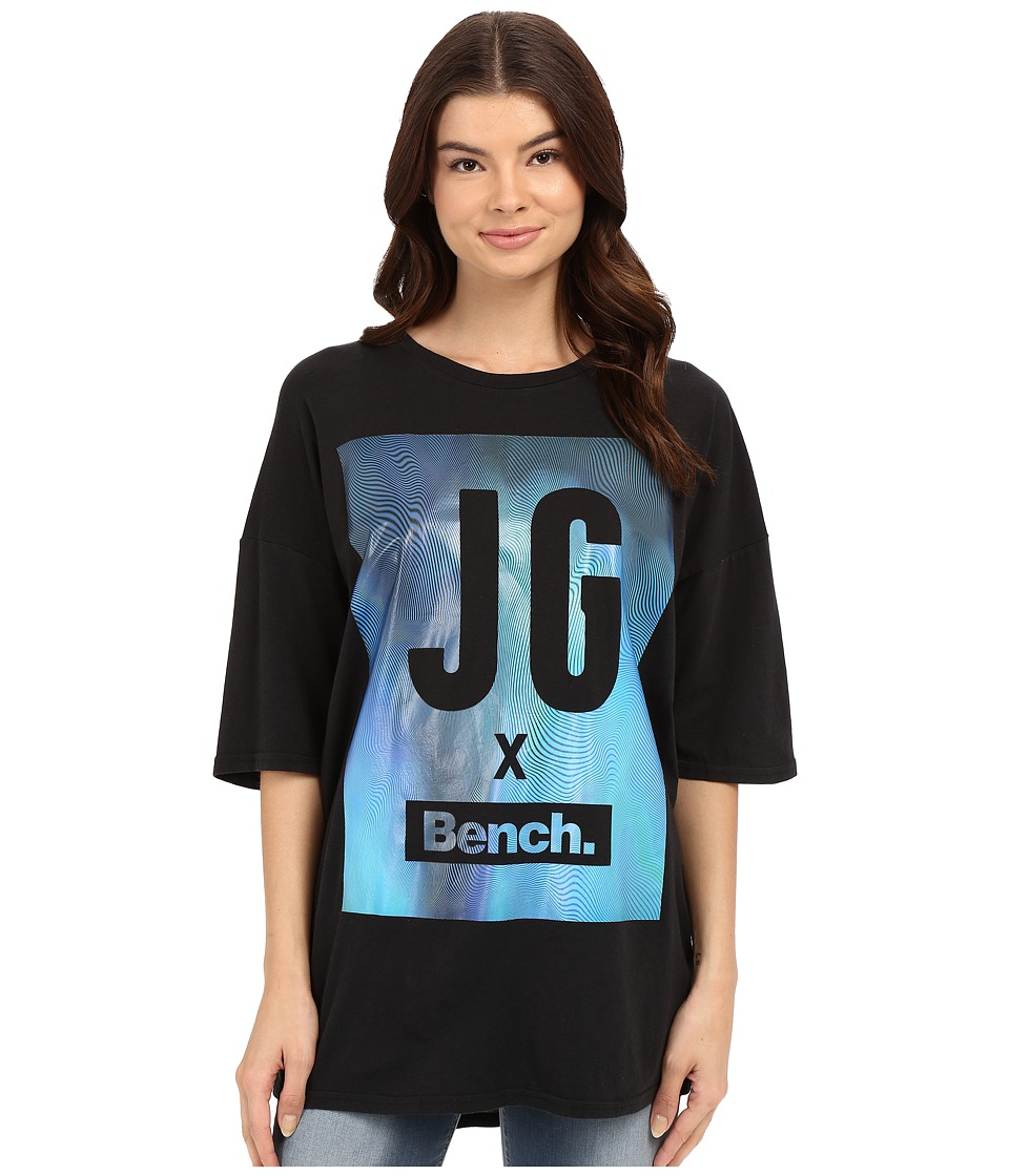 Bench - Jess Glynne x Bench collaboration- Keep Laughing Short Sleeve Tee (Jet Black) Women's Short Sleeve Pullover