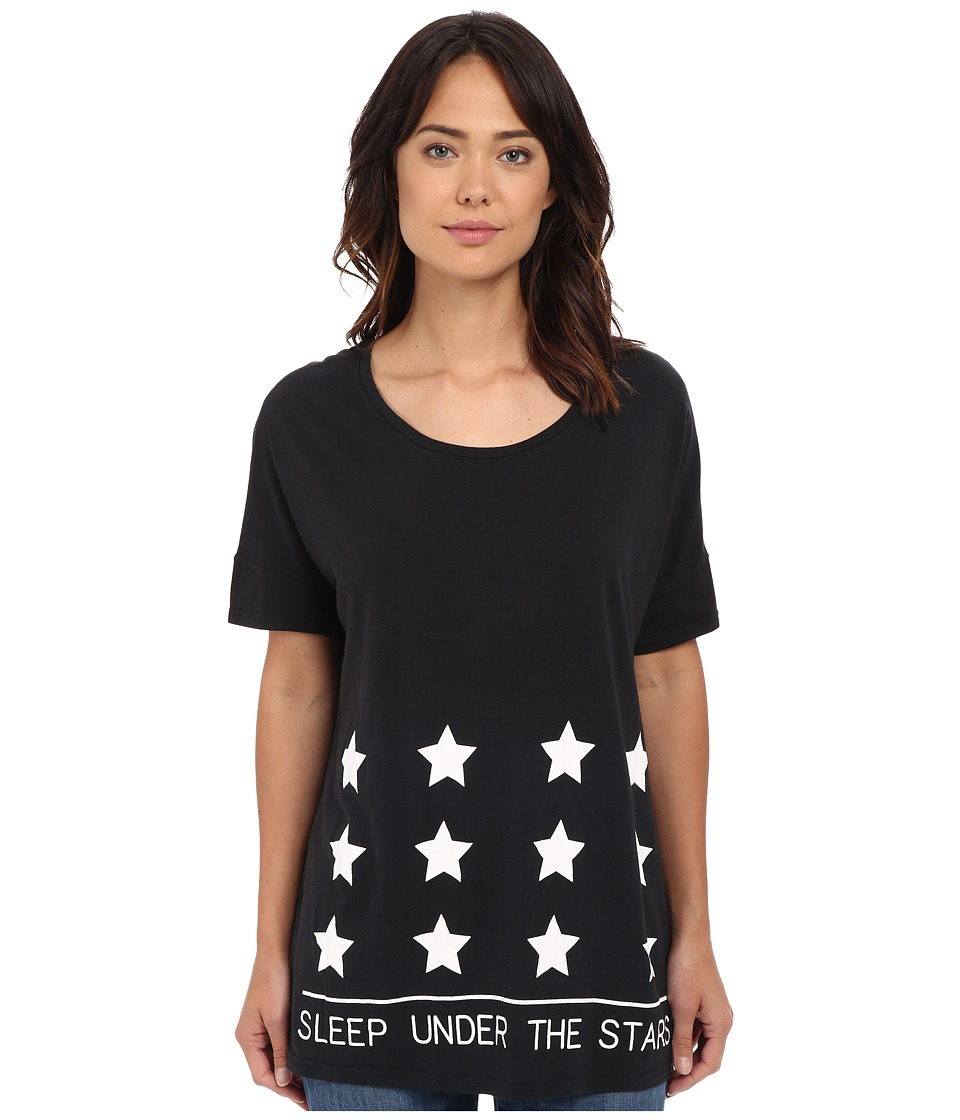 Bench - Out and About Short Sleeve Graphic Top (Jet Black) Women's Short Sleeve Pullover
