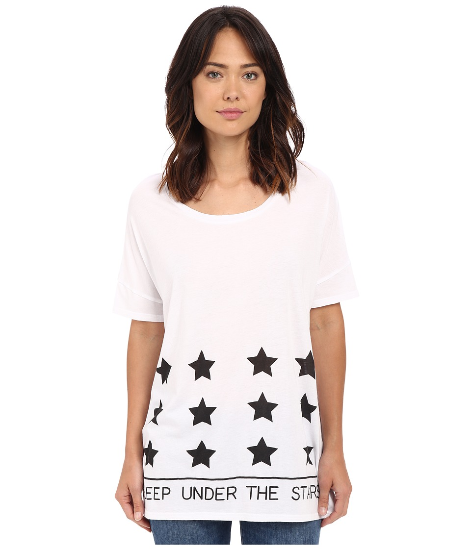 Bench - Out and About Short Sleeve Graphic Top (Bright White) Women's Short Sleeve Pullover
