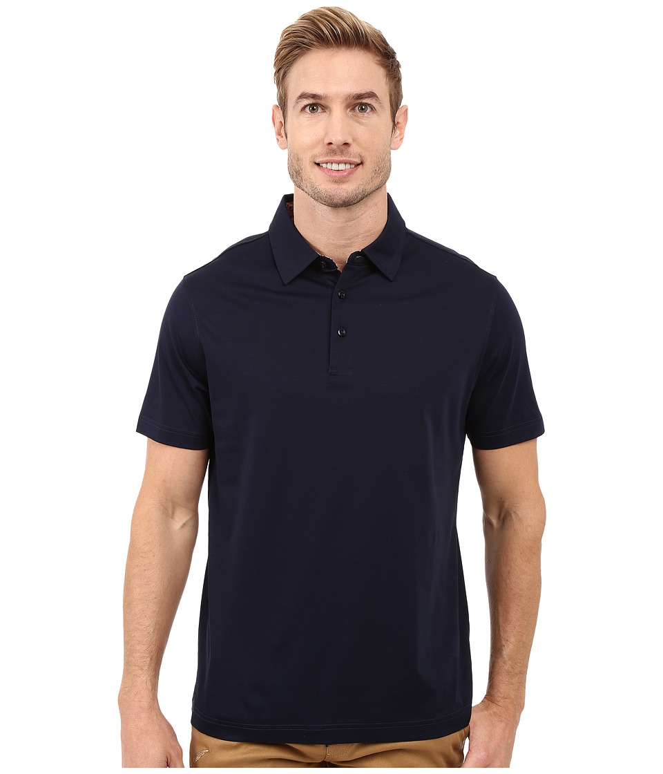 BUGATCHI - Calabria Classic Fit Short Sleeve Knit Polo (Navy) Men's Short Sleeve Knit