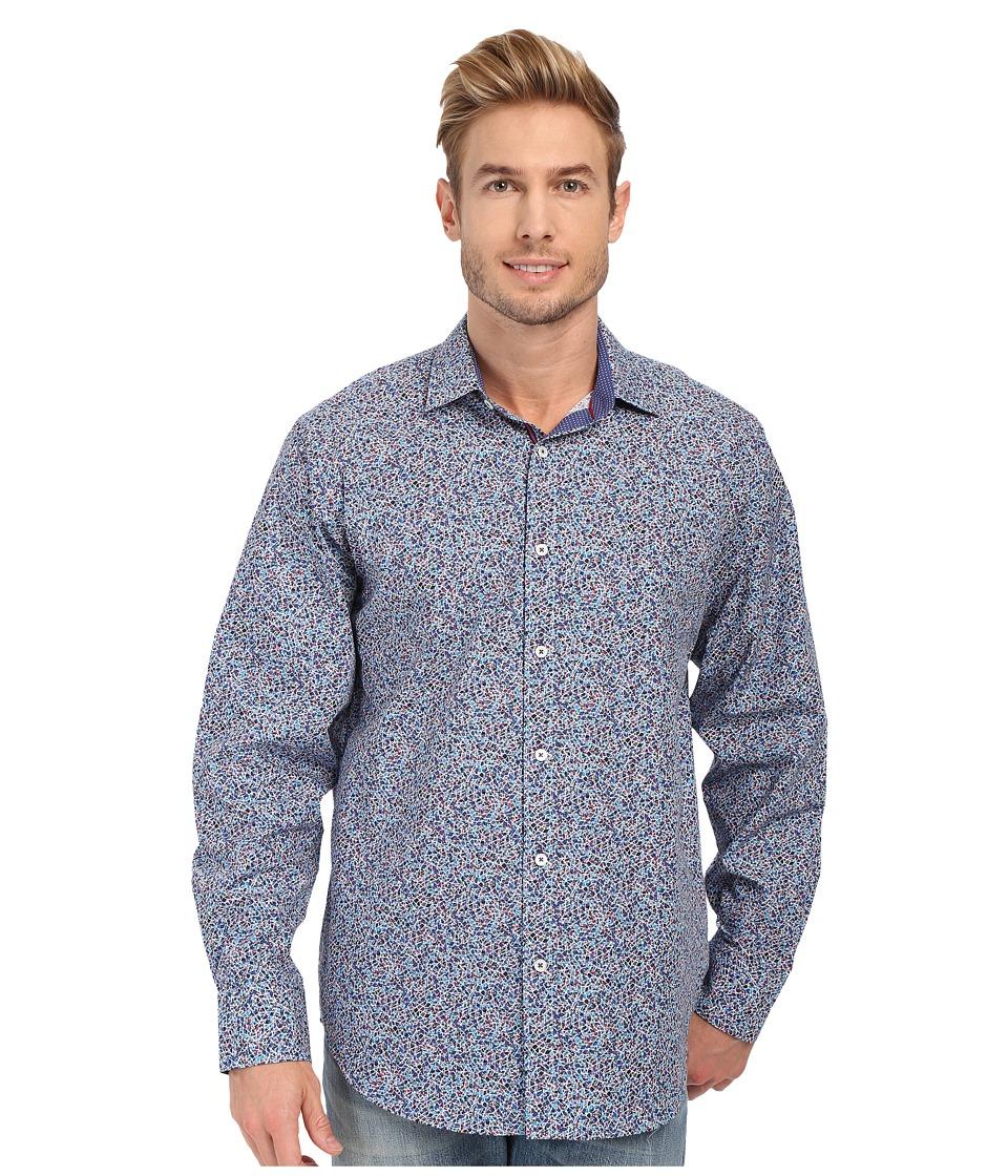 BUGATCHI - Kaleidoscope Classic Fit Long Sleeve Woven Shirt (Navy) Men's Long Sleeve Button Up
