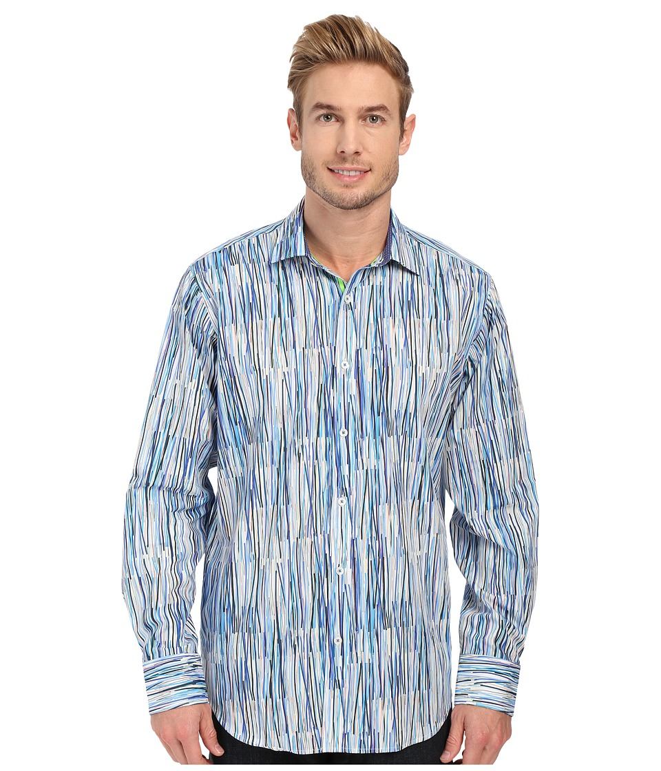 BUGATCHI - Brush Stroke Classic Fit Long Sleeve Woven Shirt (Classic Blue) Men's Long Sleeve Button Up
