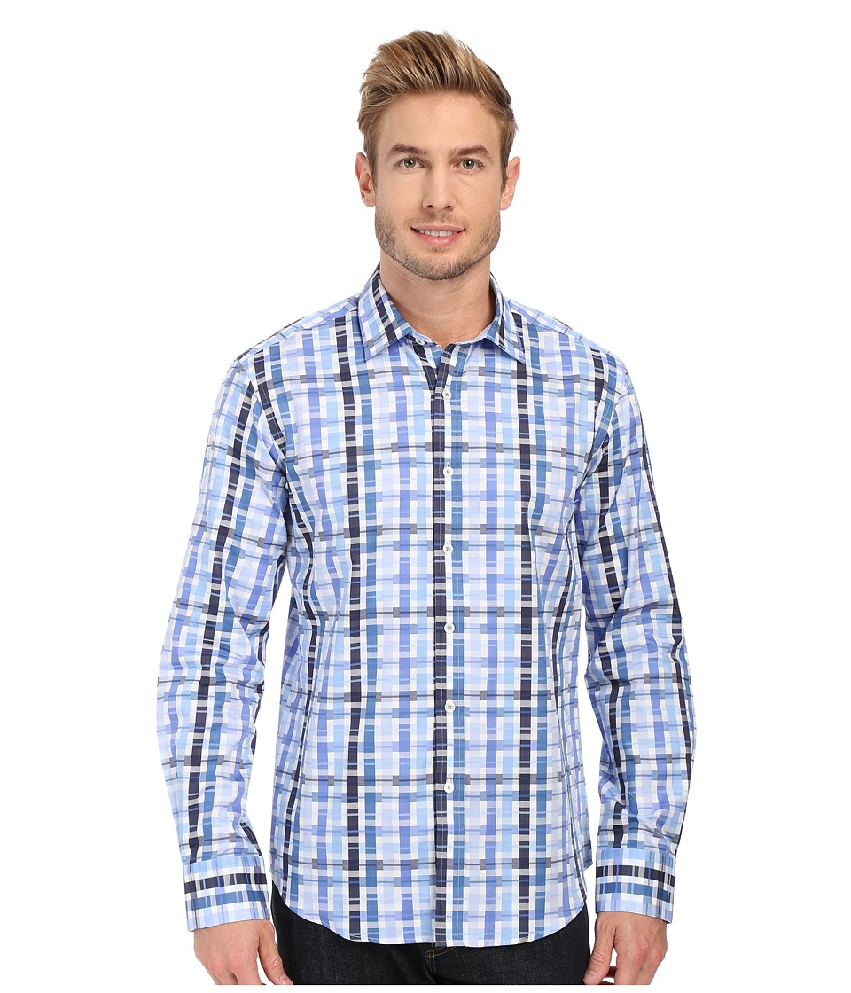 BUGATCHI - Maze Shaped Fit Long Sleeve Woven Shirt (Classic Blue) Men's Long Sleeve Button Up