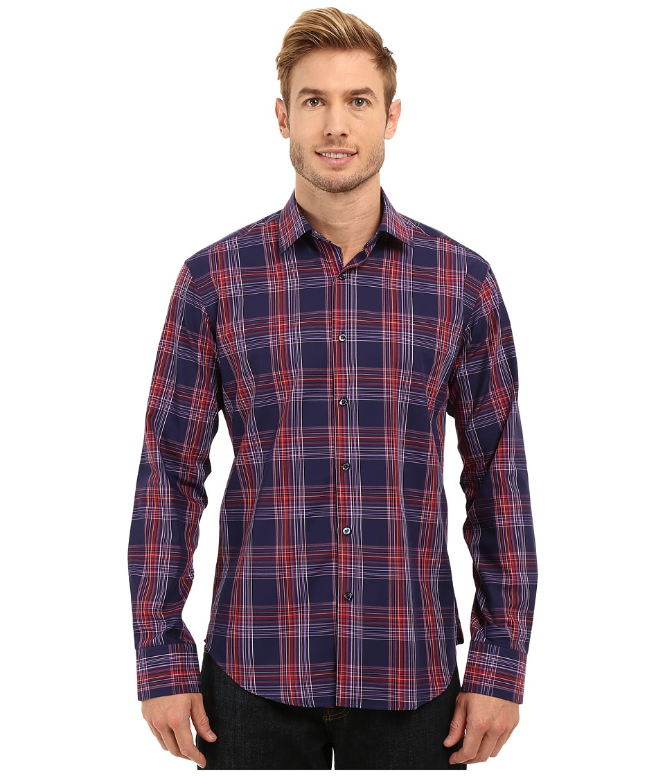 BUGATCHI - Sicily Shaped Fit Long Sleeve Woven Shirt (Midnight) Men's Long Sleeve Button Up